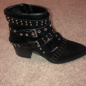 BLACK biker booties - studded